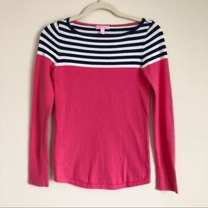 Lilly Pulitzer Maria Boatneck Pink Striped Sweater